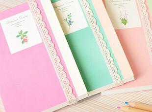 那些花儿 植物的温存 素色蕾丝绑带 横线本 笔记本 款式随机,文具,
