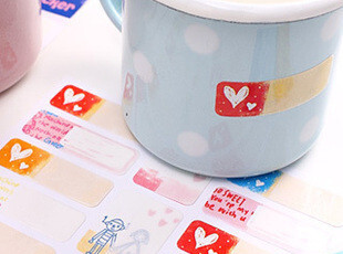 生活糖果 48包邮 文具 可爱卡通 防水姓名贴纸 签名贴纸 标签贴,文具,