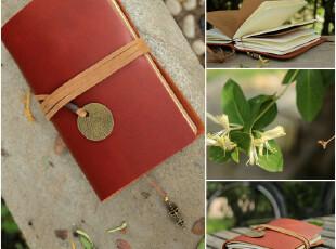 复古活页日记本创意牛皮纸笔记本子真皮手工日程本计划本旅行日记,文具,