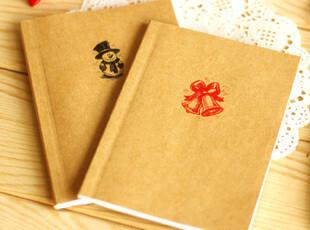 满39包邮韩国文具 牛皮圣诞 复古 内页 白纸小本草稿 便携本 本子,文具,
