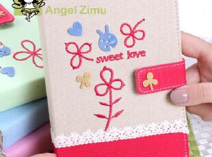 Angel Zimu韩国文具 优雅帆布 蕾丝小花刺绣吸扣 笔记本 记事本,文具,