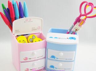 可爱 得力 双层抽屉式 笔筒 首饰盒笔筒|卡通学生笔筒 粉色/蓝色,文具,