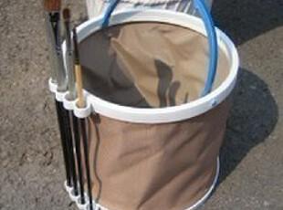 插笔式涮笔桶 折叠水桶 硬底 水粉 丙烯 油画 18cm 大号洗笔筒,文具,