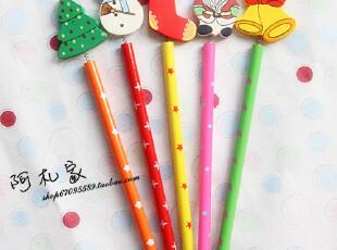 【满45包邮】木制文具 可爱卡通 圣诞 饰品 彩绘铅笔,文具,