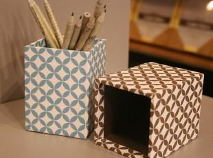 Ids'复古风格纸质花纹笔筒 收纳桶 文具 整理盒 加厚笔插 笔袋,文具,