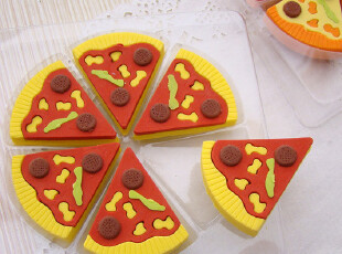 UMI韩国款创意文具 可爱仿真披萨造型橡皮擦(一盒6个),文具,