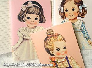【满68包邮】日韩创意 可爱洋娃娃笔记本/车线本/记事本 森系本子,文具,