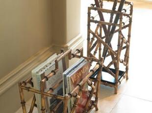 【纽约下城公园】 典雅中式风格竹节金属杂志架(DSB-097),文具,
