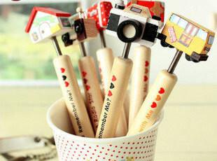 生活糖果 48包邮 创意文具 韩国原木卡通手工木质圆珠笔 摇摆头,文具,