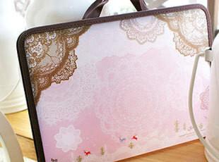 可爱韩国文具JETO公主猫女生蕾丝文件袋手提文件包拉链文件夹130g,文具,