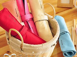 三年二班●韩国时尚 卷式 绑带大容量笔袋 化妆袋 4款可选,文具,