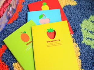 满45包邮】韩国文具 糖果色水果记事本 可爱笔记本 32K软抄本,文具,