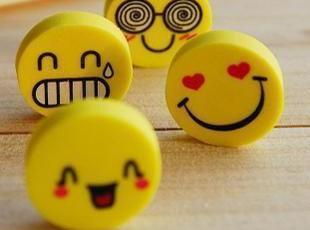 日韩文具★超Q超搞笑 笑脸表情 黄色 橡皮 0.8元/4只,文具,