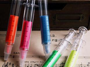 治愈系 打针不怕疼=0= 针管荧光记号笔 5色选,文具,