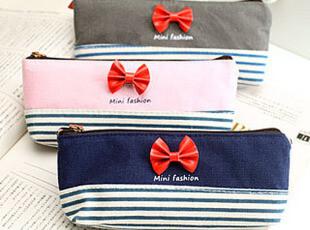 C大调♥韩国文具 可爱 田园风格 创意帆布 蝴蝶结笔袋 文具袋,文具,