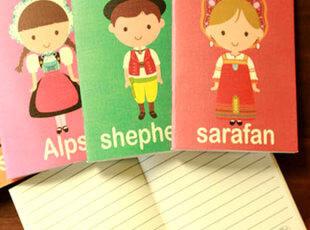 满45包邮】韩国文具 祝愿娃娃 世界小人迷你铁钉本 记事本 随身本,文具,