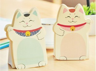 韩国创意文具 日本和风 可爱卡通 招财猫咪 造型 N次贴|便签贴,文具,