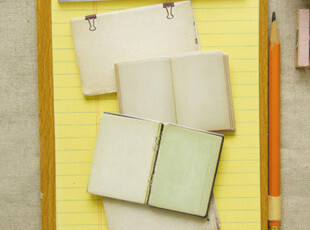 50包邮 韩国文具 复古书本 泛黄的纸张 N次贴|便签本,文具,