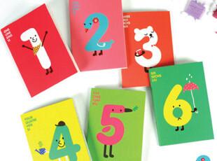 韩国文具 创意 可爱笔记本 软面抄 数字A6骑马钉 小本子 12款,文具,