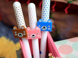 满45包邮】韩国文具 卡通可爱小熊中性笔 针管水笔 黑 0.38,文具,