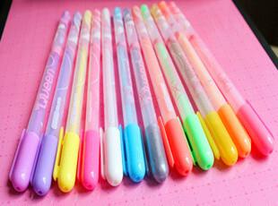 满45包邮】韩版文具 糖果色12色彩色荧光笔 相册装饰水笔,文具,