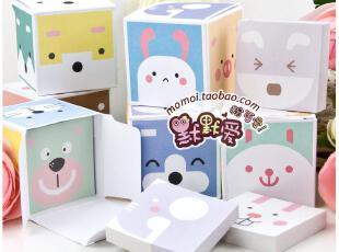 默默爱♥ 韩国创意文具 可爱小动物迷你盒装便签 便签本 5本一盒,文具,