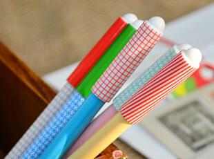 满45包邮】韩国文具 田园风 条纹格子中性笔 可爱卡通中性笔,文具,
