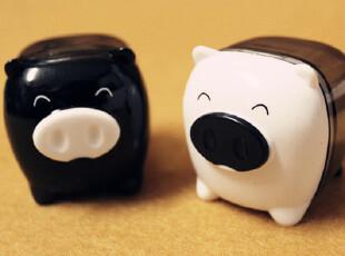 【满68包邮】得力 黑白配 可爱小猪 对对碰 卷笔刀 削笔器,文具,