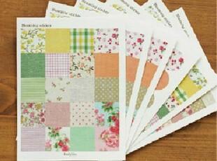 全场特价 韩国文具 E2 碎花格子多功能装饰贴纸 日记贴纸 6张/套,文具,