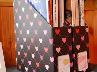 出厂价销售 秒杀价韩国风靡 桌面文件杂志纸质收纳盒 黑色桃心,文具,
