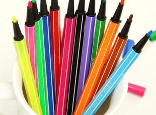 生活糖果 48包邮 创意文具 彩色水彩笔 水溶笔 涂鸦记号笔 12色装,文具,