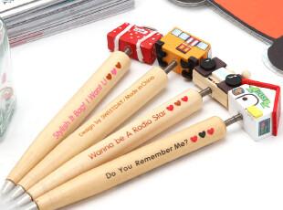简家 三金冠 韩国文具弹簧卡通头木制圆珠笔 W1990,文具,