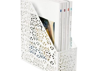 【唯美蕾丝花纹】出口北欧铁艺镂花文件桶/杂志桶/收纳桶-白色,文具,