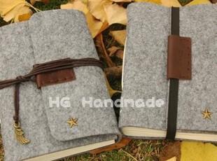 simple灰 HG毛毡手工本子 送字母定制送笔袋 欧式复古创意笔记本,文具,