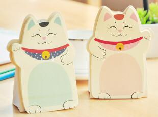 三年二班●韩国文具 可爱招财猫 桌面可立便利贴 记事贴 N次贴,文具,