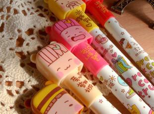 新款!韩国文具 MOMOI可爱女孩 卡通造型 黑色水笔|中性笔|圆珠笔,文具,