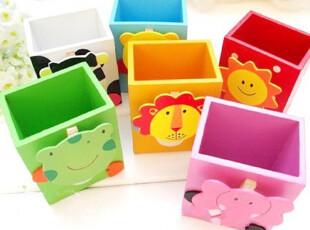西兰花小姐的店●韩国文具 卡通小动物木制可爱笔筒 桌面收纳盒,文具,