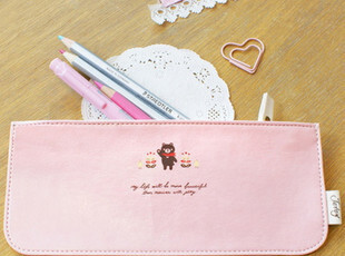 优尚汇 韩国monopoly 皮质可爱个性笔袋笔筒-baby pink 63g,文具,