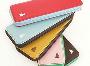 韩国 简约长款皮质刺绣小熊笔袋-pen case 四色选,文具,
