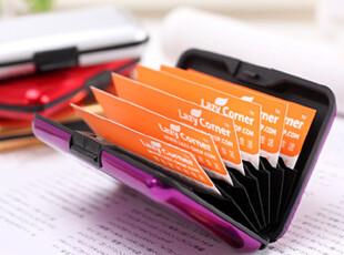 懒角落★日韩国 韩版纯色金属质感 女士条纹卡盒 名片盒 12082,文具,