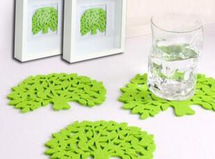 创意家居韩版可爱卡通毛毡大树水杯垫隔热垫碗垫环保绿色毛呢杯垫,杯子,