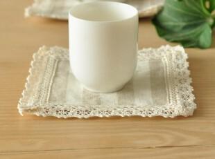 本原 条纹亚麻 布艺杯垫 茶几垫 壶垫 隔热垫 碗垫手工田园,杯子,