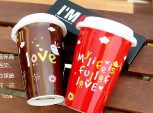 KAKIKAKI可爱双层隔热杯 创意情侣马克杯 星巴克风格水杯陶瓷杯子,杯子,
