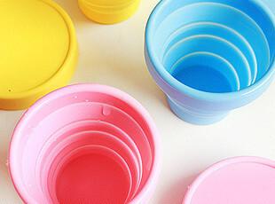 日单 可爱果冻色 便携硅胶折叠杯 简约折叠杯 户外必备,杯子,