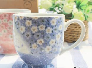 日本进口陶瓷马克杯对杯 樱花浪漫粉蓝情侣对杯马克杯礼盒套装,杯子,