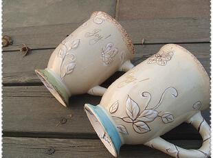 外贸陶瓷 复古立体手绘花纹杯 情侣早餐咖啡牛奶水杯子zakka,杯子,