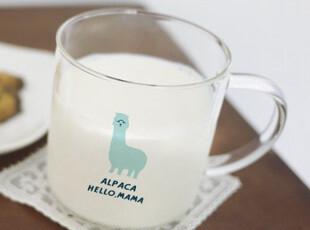 羊驼玻璃杯 草尼玛玻璃杯 good moring系列早餐杯 透明动物水杯,杯子,