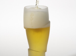 正品 丹麦PO: 3D冰杯 创意啤酒杯 玻璃杯 大号单只 玻璃啤酒酒杯,杯子,
