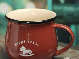 礼品批发 创意 复古 时尚糖果色 陶瓷马克杯ZAKKA 动物牛奶早餐杯,杯子,
