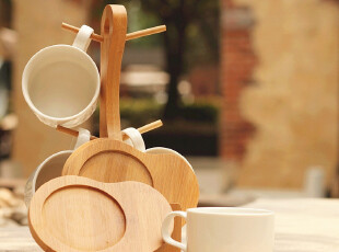 优家宜家风白瓷创意情侣杯 咖啡杯茶具9件套装 七夕情人节礼物,杯子,